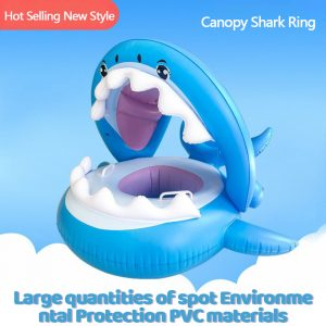 Shark Riem Opblaasbare Kinderen Zwemmen Ring Afneembare Schaduw Baby Tent Seat Water Entertainment Zwemmen Ring Seat Boot
